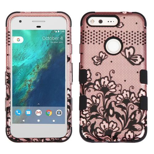 Insten Tuff Lace Flowers Hard Dual Layer Rubber Silicone Case For Google Pixel XL, Rose Gold/Black