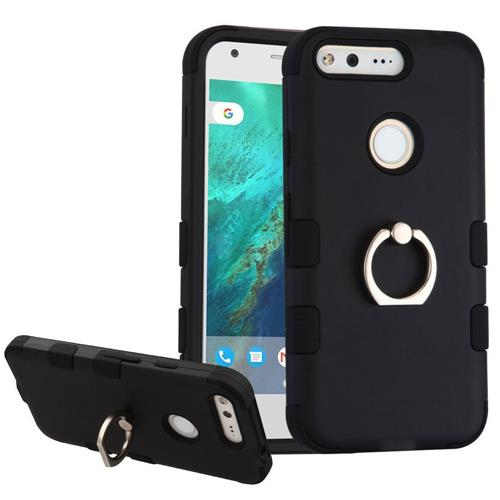 Insten Hard Hybrid Rubber Silicone Case w/Ring stand For Google Pixel XL, Black