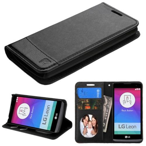 Insten Folio Leather Fabric Cover Case w/stand/card slot/Photo Display For LG Leon, Black