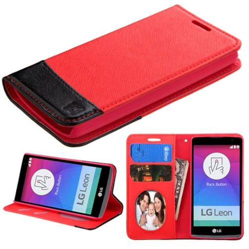 Insten Book-Style Leather Fabric Case w/stand/card holder/Photo Display For LG Leon, Red/Black
