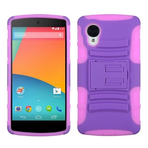 Insten Advanced Armor Hard Plastic Silicone Case w/stand For LG Google Nexus 5, Purple/Hot Pink