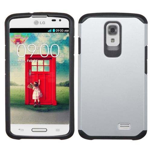 Insten Hard Dual Layer Rubberized Silicone Cover Case For LG F70 D315, Silver/Black