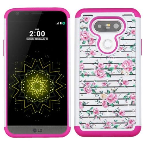 Insten Fresh Roses Hard Hybrid Rubber Silicone Cover Case w/Diamond For LG G5, Pink/White