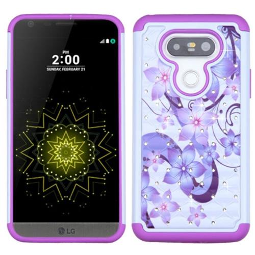 Insten Hibiscus Hard Hybrid Rubberized Silicone Case w/Diamond For LG G5, Purple/White