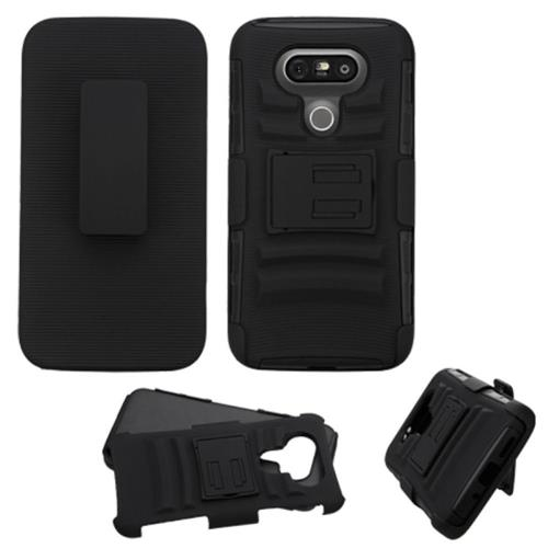 Insten Hard Hybrid Plastic Silicone Case w/stand/Holster For LG G5, Black