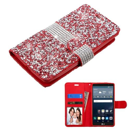 Insten Flip Leather Diamond Case w/card slot/Photo Display For LG G Stylo, Red/Silver