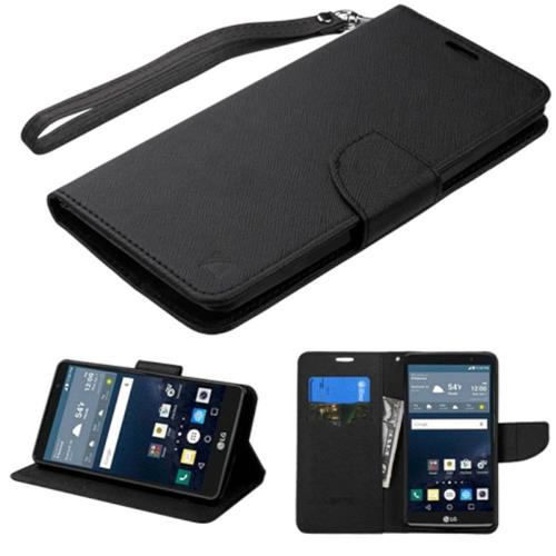 Insten Flip Leather Fabric Cover Case Lanyard w/stand/card slot For LG G Stylo, Black