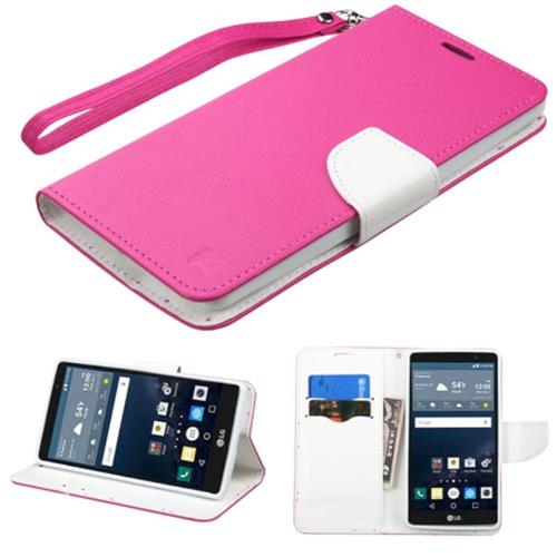 Insten Folio Leather Fabric Cover Case Lanyard w/stand/card slot For LG G Stylo, Hot Pink/White