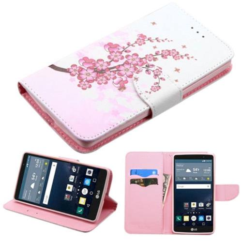 Insten Spring Flowers Folio Leather Fabric Case w/stand/card holder For LG G Stylo, Pink/White