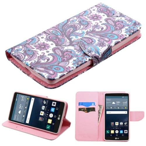 Insten European Flowers Folio Leather Fabric Case w/stand/card slot For LG G Stylo, Purple/White