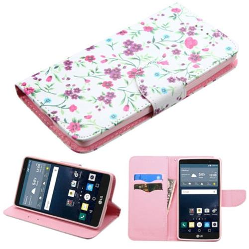 Insten Flowers Folio Leather Fabric Case w/stand/card holder For LG G Stylo, Pink/White