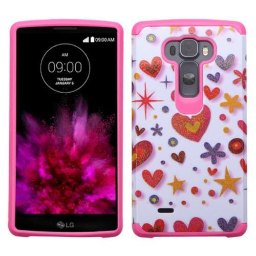 Insten Heart Graffiti Hard Hybrid Rubber Silicone Case For LG G Flex 2, Hot Pink/White