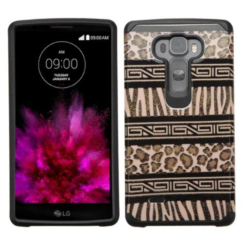 Insten Zebra Hard Dual Layer Rubber Silicone Cover Case For LG G Flex 2, Brown/Black