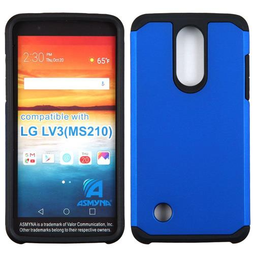 Insten Hard Dual Layer Rubberized Silicone Cover Case For LG LV3, Blue/Black