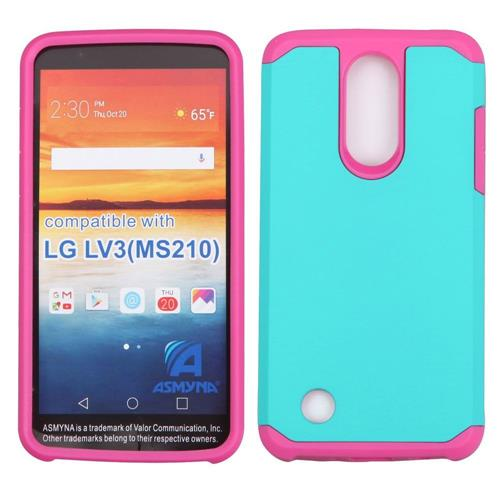 Insten Hard Dual Layer TPU Cover Case For LG Aristo/LV3, Teal/Pink