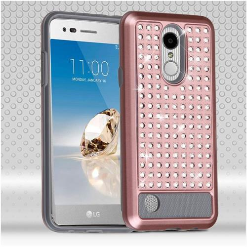 Insten Hard Dual Layer Bling Silicone Cover Case For LG Aristo/LV3, Rose Gold/Gray
