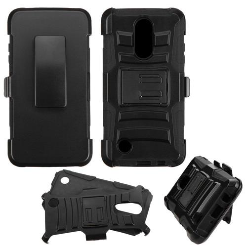 Insten Hard Dual Layer Plastic Silicone Case w/Holster For LG LV3, Black