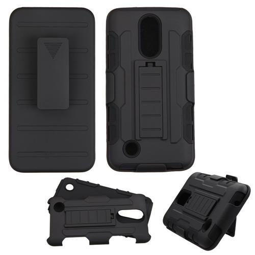 Insten Hard Hybrid Plastic Silicone Cover Case w/Holster For LG LV3, Black