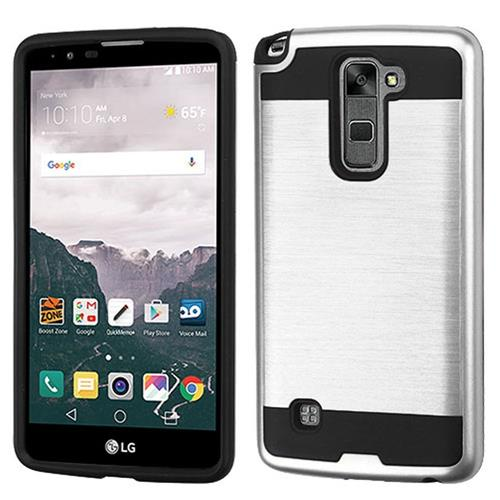 Insten Hard Dual Layer TPU Case For LG Stylo 2 Plus, Silver/Black