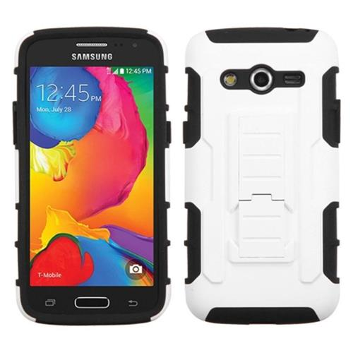 Insten Car Armor Hard Dual Layer Plastic Silicone Case w/stand For Samsung Galaxy Avant, White/Black
