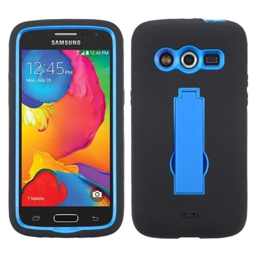 Insten Symbiosis Silicone Dual Layer Rubber Hard Case w/stand For Samsung Galaxy Avant, Black/Blue