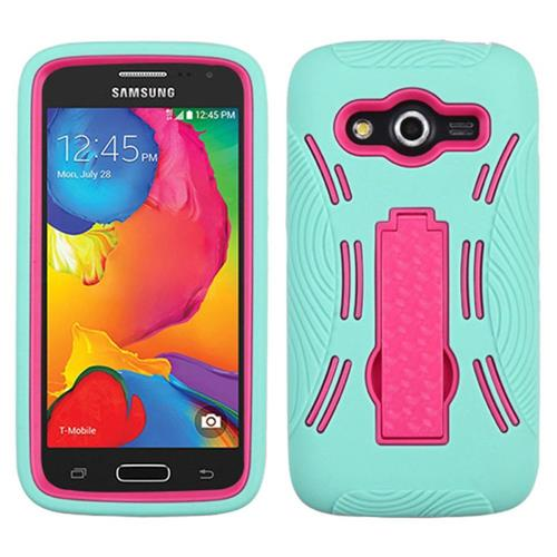 Insten Skin Hybrid Rubber Hard Cover Case w/stand For Samsung Galaxy Avant, Teal/Hot Pink
