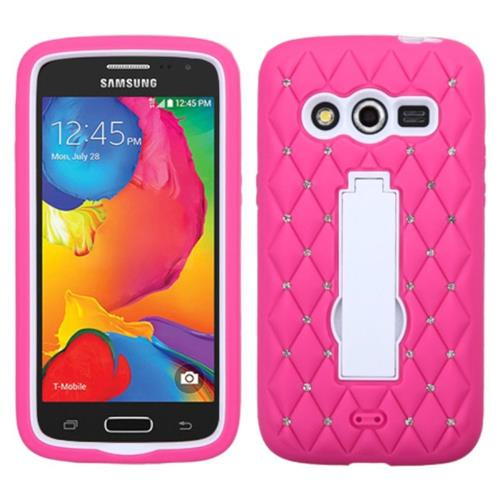 Insten Symbiosis Rubber Hybrid Hard Case w/stand/Diamond For Samsung Galaxy Avant, Hot Pink/White