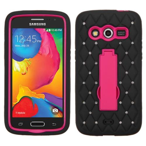 Insten Symbiosis Skin Rubber Hard Case w/stand/Diamond For Samsung Galaxy Avant, Black/Hot Pink