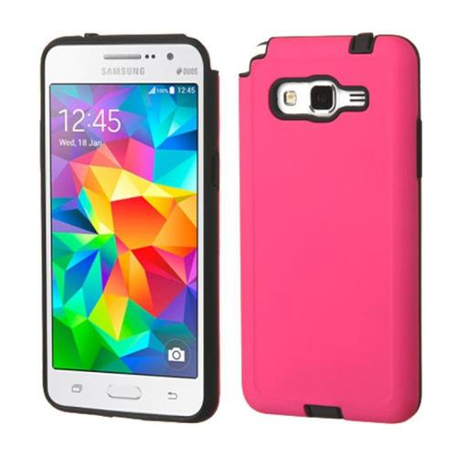 Insten Hard Dual Layer Silicone Case For Samsung Galaxy Grand Prime, Hot Pink/Black