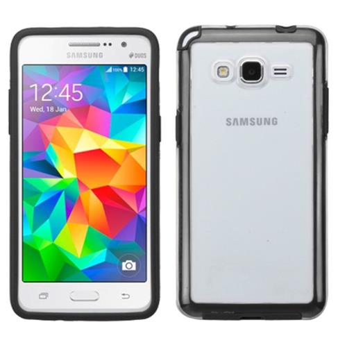 Insten Fitted Hard Shell Case for Samsung Galaxy Grand Prime - Clear/Black