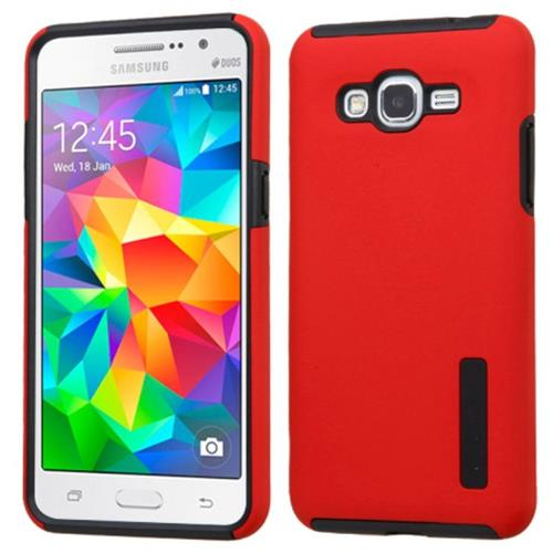 Insten Hard Hybrid Rubber Silicone Cover Case For Samsung Galaxy Grand Prime, Red/Black