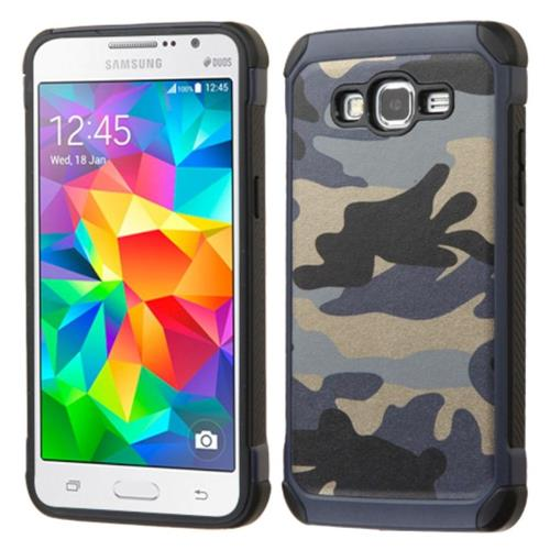 Insten Camouflage Hard Hybrid Silicone Case For Samsung Galaxy Grand Prime, Blue/Black