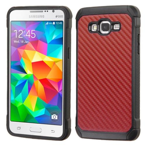 Insten Hard Hybrid Rubber Silicone Case For Samsung Galaxy Grand Prime, Red/Black