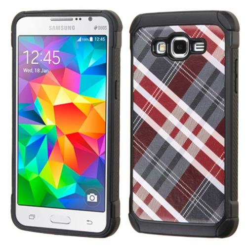 Insten Diagonal Plaid Hard Hybrid Rubber Silicone Case For Samsung Galaxy Grand Prime, Red/Gray