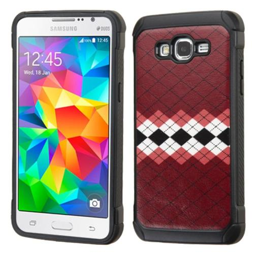 Insten Argyle Hard Dual Layer Rubber Coated Silicone Case For Samsung Galaxy Grand Prime, Red/White