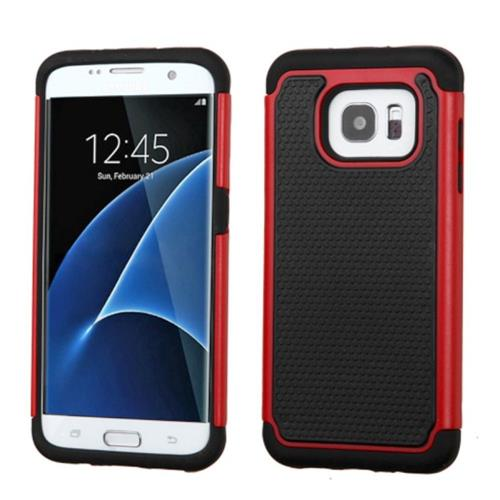 Insten Hard Dual Layer Rubber Coated Silicone Cover Case For Samsung Galaxy S7 Edge, Black/Red
