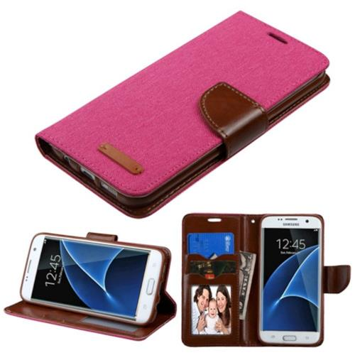 Insten Folio Leather Fabric Case w/stand/card holder/Photo Display For Samsung Galaxy S7 Edge, Pink