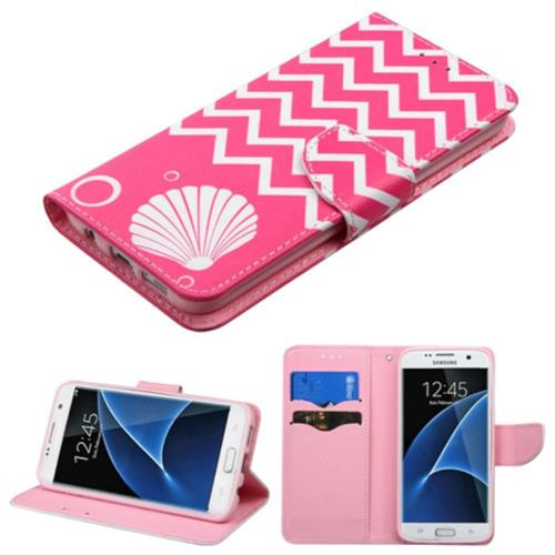 Insten Shell Book-Style Leather Case w/stand/card holder For Samsung Galaxy S7 Edge, Pink/White