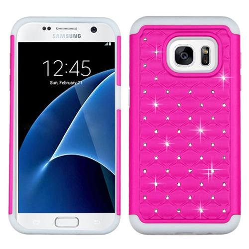 Insten Hard Dual Layer Silicone Case w/Diamond For Samsung Galaxy S7, Hot Pink/White
