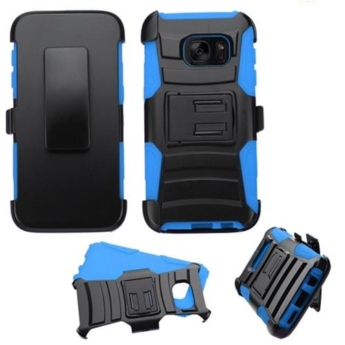 Insten Hard Dual Layer Plastic Silicone Case w/Holster For Samsung Galaxy S7, Black/Blue