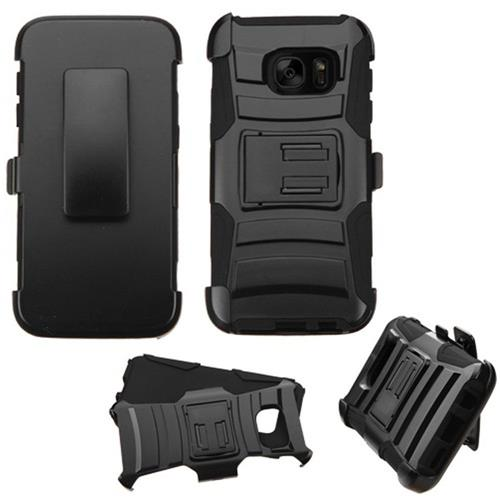 Insten Car Armor Hard Dual Layer Plastic Silicone Case w/Holster For Samsung Galaxy S7, Black