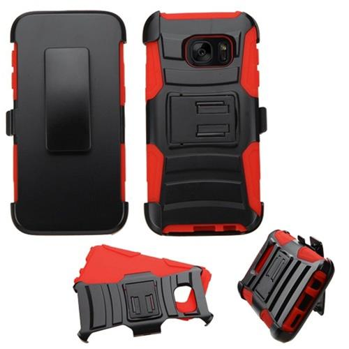 Insten Hard Hybrid Plastic Silicone Case w/Holster For Samsung Galaxy S7, Black/Red