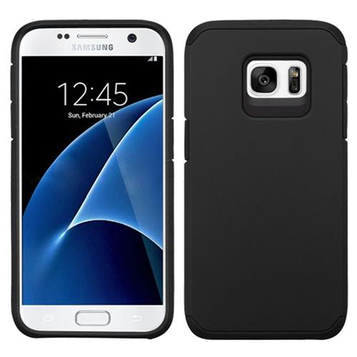 Insten Hard Dual Layer Rubber Silicone Case For Samsung Galaxy S7, Black