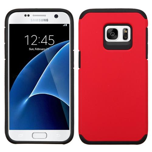 Insten Hard Hybrid Rubber Coated Silicone Cover Case For Samsung Galaxy S7, Red/Black