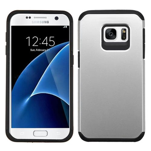 Insten Hard Dual Layer Rubberized Silicone Case For Samsung Galaxy S7, Silver/Black