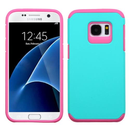 Insten Hard Hybrid Silicone Cover Case For Samsung Galaxy S7, Teal/Pink