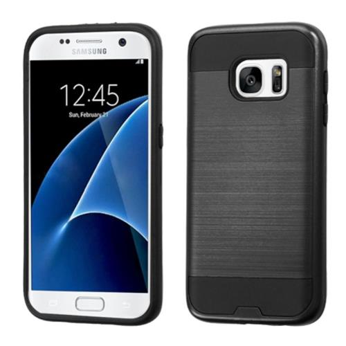 Insten Hard Hybrid Rubber Coated Silicone Cover Case For Samsung Galaxy S7, Black
