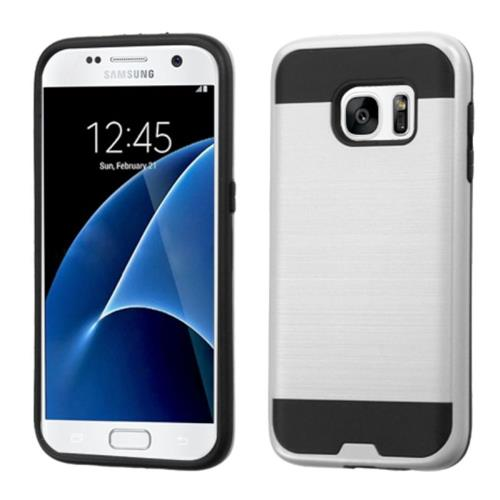 Insten Hard Hybrid Silicone Cover Case For Samsung Galaxy S7, Silver/Black
