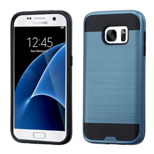 Insten Hard Dual Layer Silicone Cover Case For Samsung Galaxy S7, Blue/Black