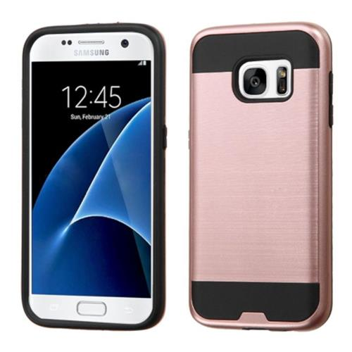 Insten Hard Dual Layer Rubber Coated Silicone Cover Case For Samsung Galaxy S7, Rose Gold/Black